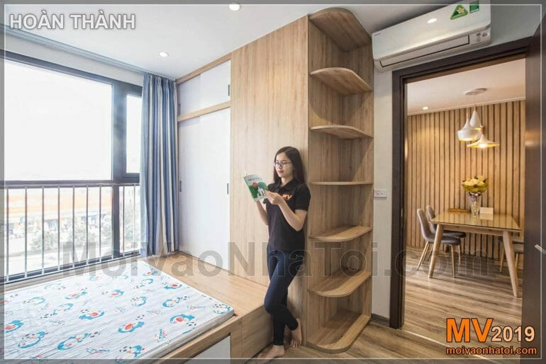 Interior design Japanese style apartment using natural wood