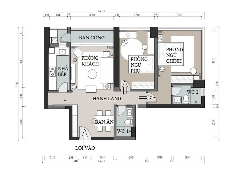 Architectural space, after being renovated, the interior of the apartment has 2 bedrooms, 1 living room with pine design, a separate kitchen and 2 bathrooms.