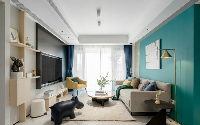 Overview of a spacious and cool living room - renovating the interior of the apartment