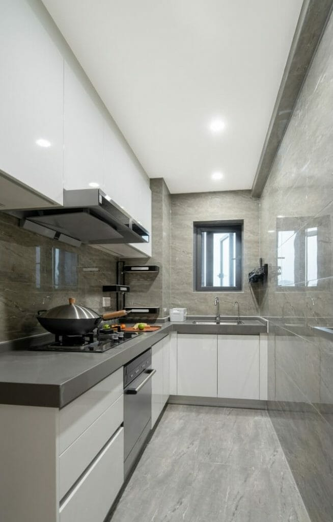 Separate kitchen with all cooking equipment such as gas stoves, hoods, dishwashers, sinks - interior renovation of apartments
