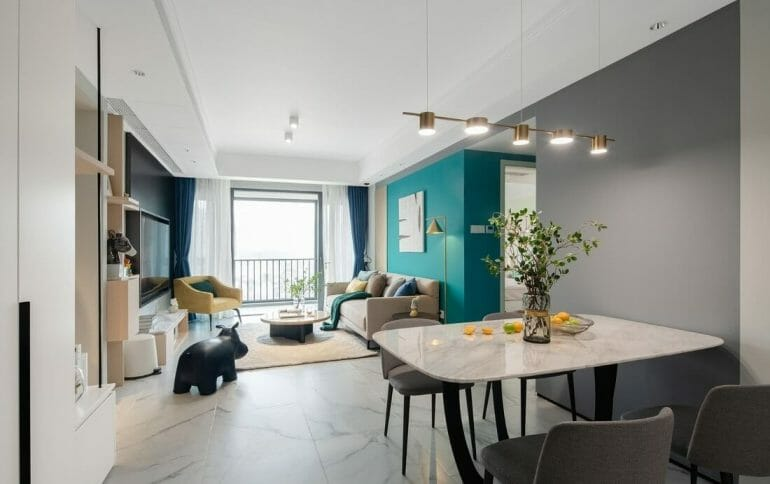 Living space is an open room and dining room is designed - renovating the interior of the apartment