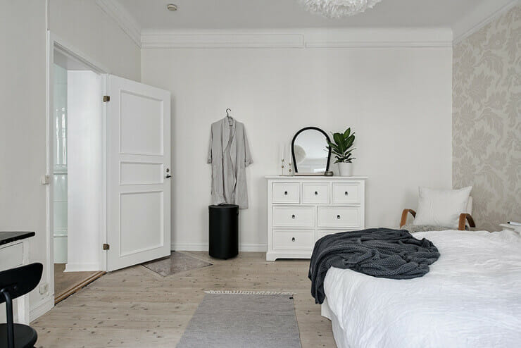 The simple furniture in the bedroom