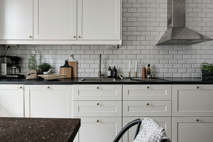 Kitchen walls are clad with high quality bricks