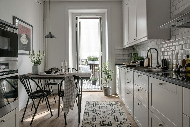 Kitchen space with the main white color