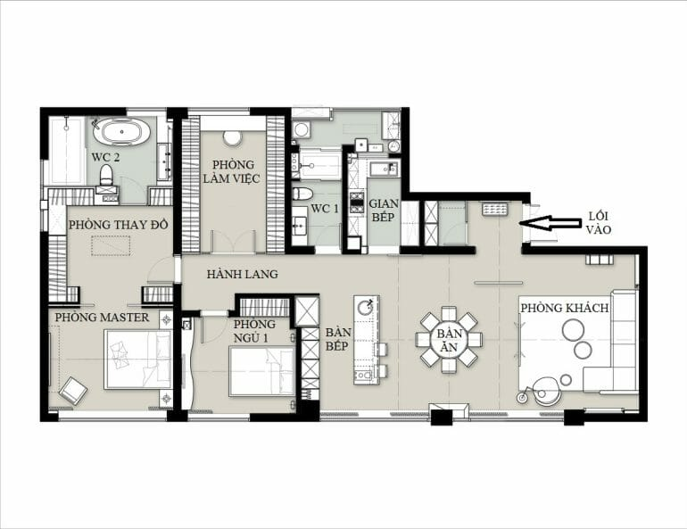 architectural ground of the apartment, living room with Nordic furniture, 2 bedrooms, 2 wc, living space