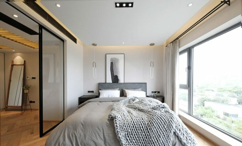 Master bedroom interior Nordic style, with large windows and white curtains