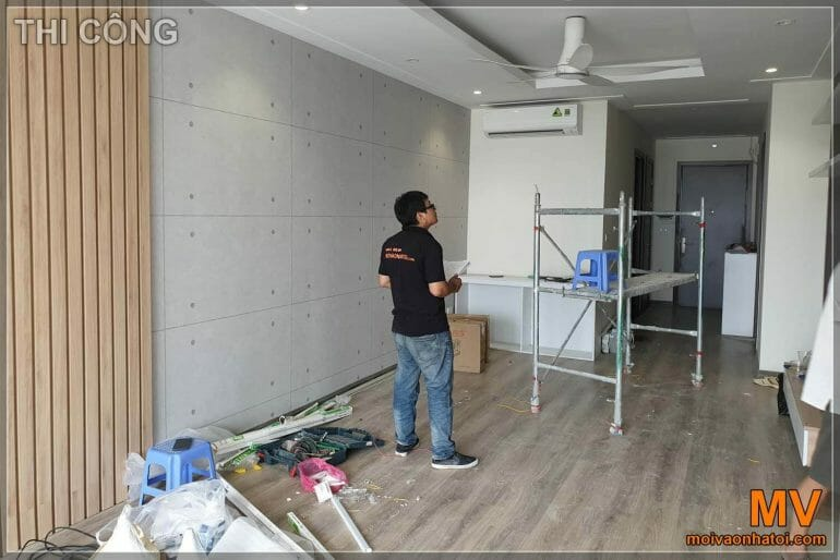 Construction of living room kitchen interior apartment Northern Diamond Long Bien