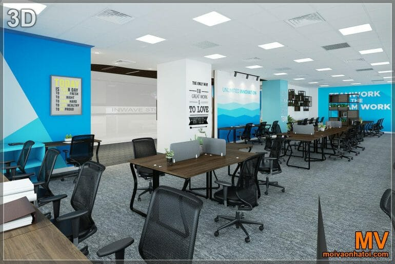 3d design of office interior working 50 people
