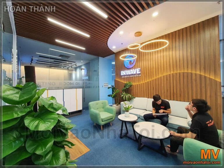 interior design of office with wooden ceiling