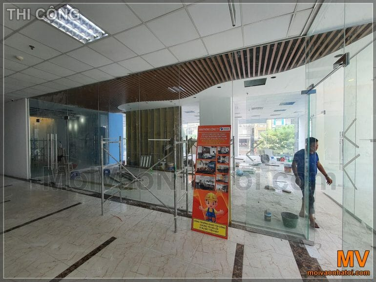 Looking from outside into the office lobby during construction