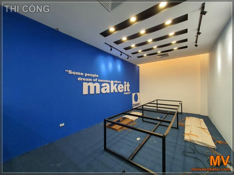 Decorative wall painting carpeted office large meeting room