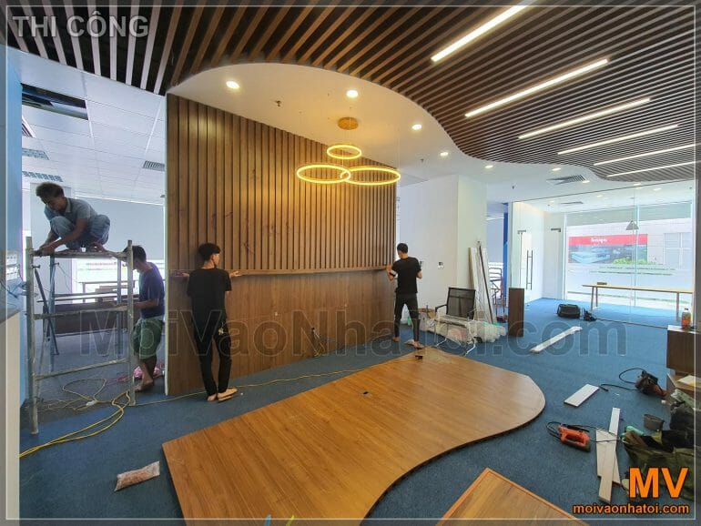 the process of building an office reception hall