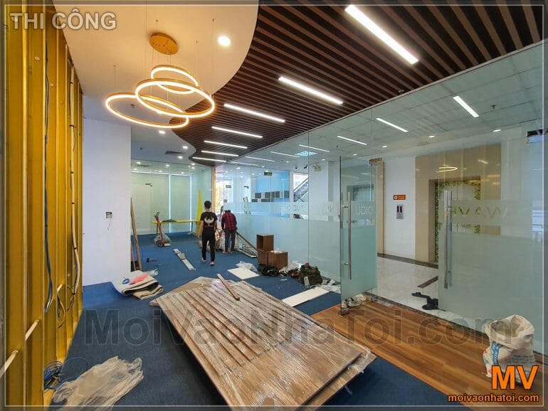 construction of company office lobby furniture