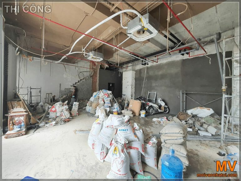 construction of raw materials on the 1st floor