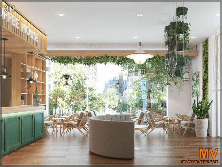 3D design from right angle to Hanoi coffee shop