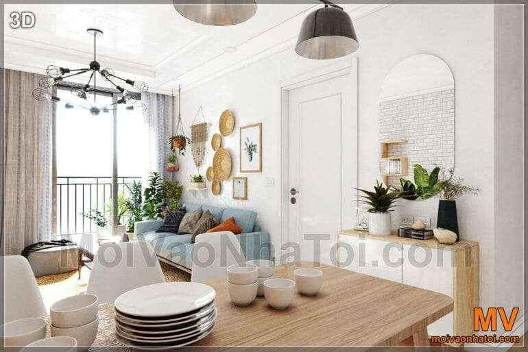 Interior design of the living room - kitchen in Park 5 apartment building
