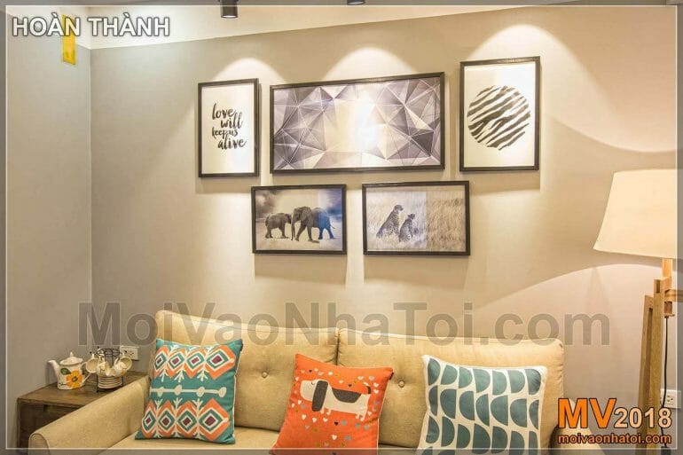 The paintings add art to the house of Dang Xa Apartment