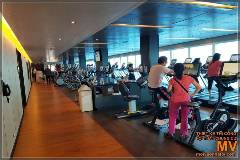 The gym of the 5-star cruise ship