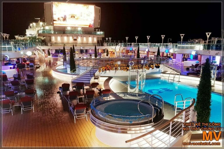 5-star cruise ship's outdoor swimming pool