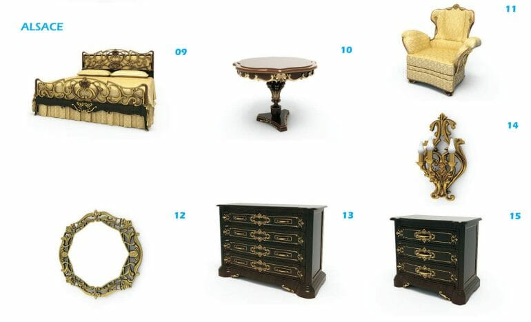 Bed pattern, classic style bedroom furniture