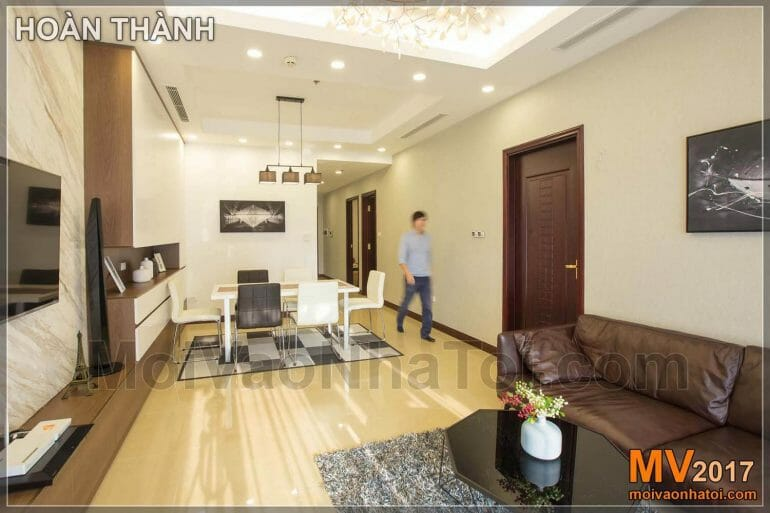 Designing and constructing the living room of Royal city apartment 100m2