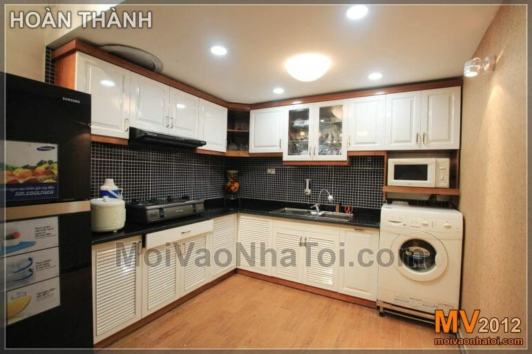 Interior design of living room with kitchen